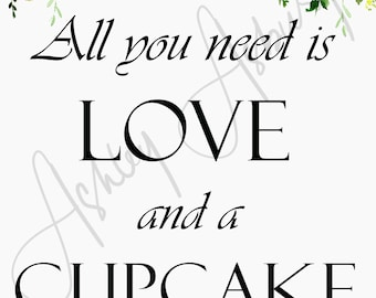Love and a Cupcake - 5x7in