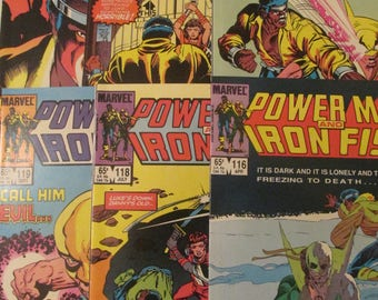 6 Luke Cage and Iron Fist Comic book lot, Power Man, Hero for Hire, Netflix books: 116 118 119 120 122 123. 1984 Marvel Comics in NM (9.4)