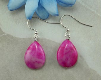 Fuchsia Crazy Lace Agate Teardrop Earrings