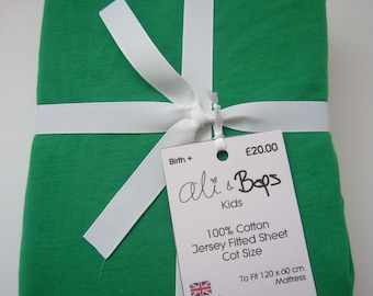 Gender Neutral Super Soft Jersey Cot Fitted Sheet Bright Green