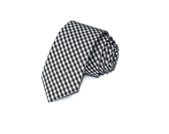Black Gingham Necktie~Anniversary Gift~Wedding Tie~Mens Gift~Boys Necktie~Mens Necktie~Wedding~HoBo Ties~Mens Tie~Black Tie