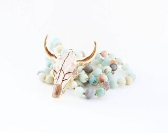 Longhorn Skull Beaded Necklace - Cattle Skull Necklace - Steer Skull Long Boho Necklace - Amazonite Beaded Necklace - C Edwards Designs