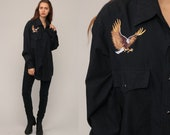 Western Shirt EMBROIDERED BIRD 70s Pearl Snap Cowboy Black Button Up Top 80s Vintage Long Sleeve Blouse Rockabilly Extra Large xl