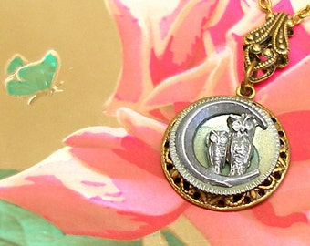 OWL, 1800s BUTTON necklace, Victorian birds on brass. Antique button jewellery. Present, gift.