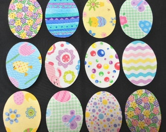 Easter Egg Fabric Appliques - Fusible Iron On Fabric Appliques by SEW FUN QUILTS