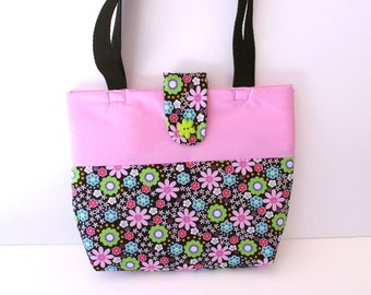 Pink and Black Floral Tote Bag with Floral Flap Closure with Button