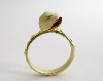 Gold Pistachio Ring 18kt Gold Ring Cast From Natural Pistachio Smile Ring