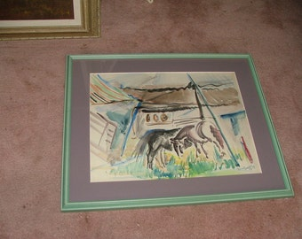 Listed 1934 Grazing Horses Signed JUNE (GERTRUDE) GROFF Watercolor Painting