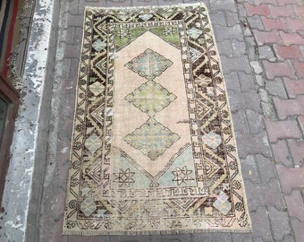 "3""1x5""1 ft/94x154 cm,Faded muted rug runner, small rug runner, vintage turkish rug runner, home vintage rug runner, persinan runner,boho rug"