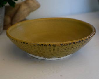 Golden Yellow Brown Spotted Salad Bowl