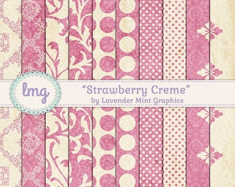 """Shabby Chic, Digital Papers, """"Strawberry Creme"""", Pink Patterns, Polka Dots, Damask Pattern, Floral Backgrounds, Instant Download"""