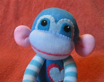 Happy - Best Friend Sock Monkey Plush - Blue Stripes Pink - Handmade Doll