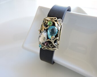 Fitbit Bracelet Jewelry ~ Fitbit Flex bracelet Jewelry Slide-on Accessory - Detailed Vintage Flowers gold plated colorful FitBit Jewelry