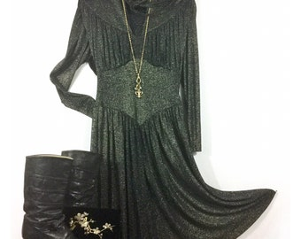 Black Metallic Dress w/ Gold Lurex - Holly's Harp - Yoke Waist, Gathered Draped Bust, Batwing Sleeve, Full Skirt, Bow Tie - Vintage 70s 80s