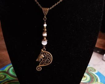 "18"" Celtic Wolf pendant necklace with White Cat Eye beads"