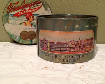 Fralinger's Salt Water Taffy Tin, Vintage from early century #Q8