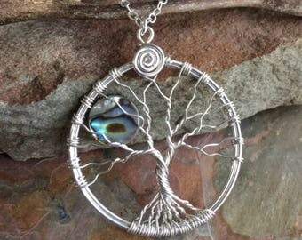 Moon Tree of Life Sterling Silver Necklace, Abalone Moon Tree of Life Pendant Necklace, Wire Wrapped Moonlight Tree of Life Necklace