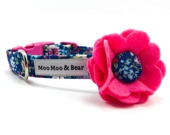 Belle Felt Dog Collar Flower with Handmade Button