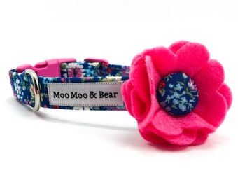 Chelsea Felt Dog Collar Flower with Handmade Button