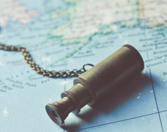 the little explorer. brass miniature telescope necklace.