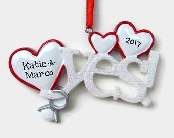 She Said Yes! - Engagement Personalized Ornament - Hand Personalized Christmas Ornament