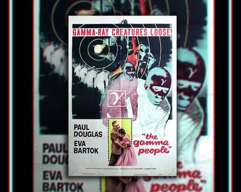 The GAMMA PEOPLE (1956) Very Rare 27x40 Fold US One Sheet Movie Poster Original Vintage Collectible