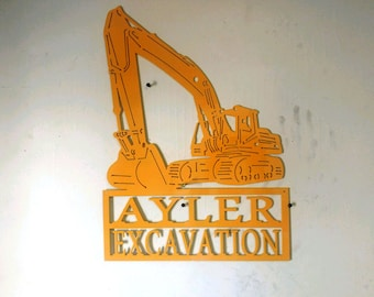 Custom Metal Excavator Tracked Back Hoe Personalized with Name, Business Address Sign Wall Art, Wall Hanging