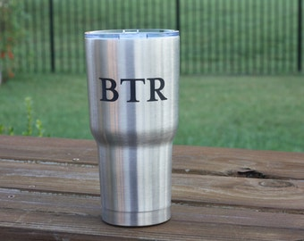 Stainless Steel Personalized Tumbler (RTIC, like YETI, permanent engraving)