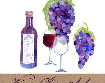 Digital Clipart, Wine Clip Art, Watercolor Vineyard