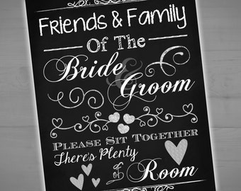 Sit Together There's Plenty Of Room Wedding Chalkboard Printable Sign - No Seating Chart - Choose A Seat Not A Side - Instant - 8x10 - 16x20
