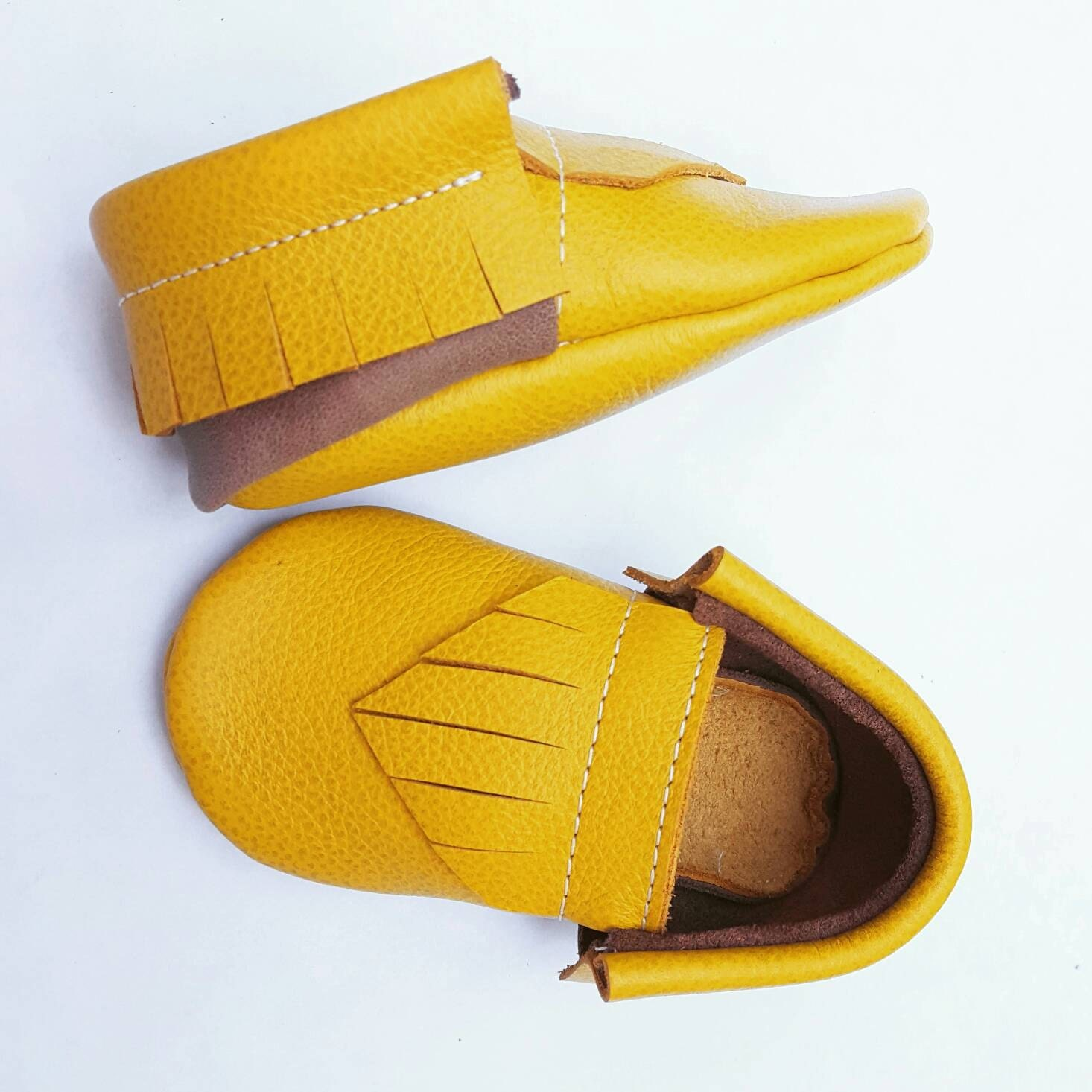 Baby Moccasins Mustard and Brown moccs uni baby shoes
