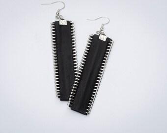 Leather Earrings, Black Genuine Leathe earrings With Zippers