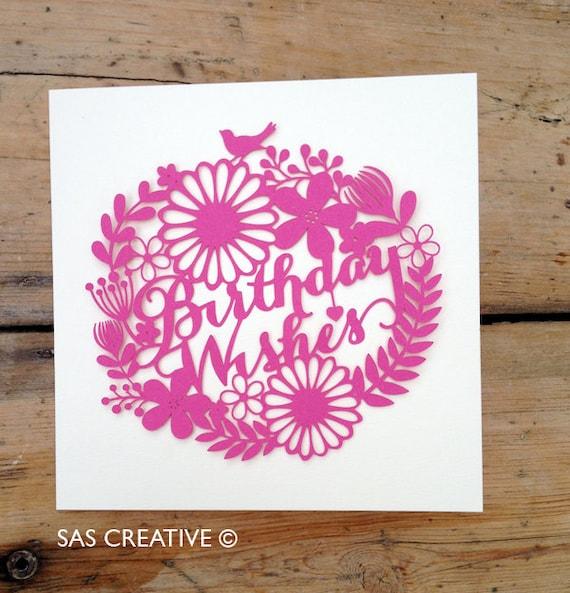 Papercut Template 'Birthday Wishes' PDF Jpeg SVG Make