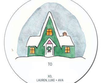 Holiday Gift Tag Sticker - Ski Chalet