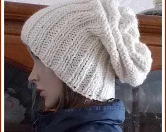 Ecru wool and alpaca Slouchy Beanie