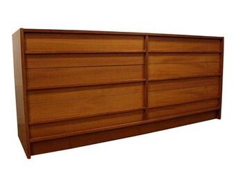 Mid-Century Danish Modern Teak Credenza Dresser #54