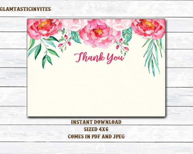 Floral Thank You Card, Printable Floral Thank You Card, Thank You Card, Baby Shower Thank You, Bridal Shower Thank You, Rustic Thank You