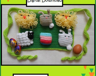 NEW PATTERN: Crochet Egg Collecting Apron, Egg-stra-ordinary Easter Egg Hunt Apron, Chick, Bunny, Lamb and Egg Pockets, Introductory Offer!