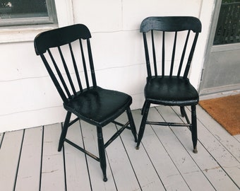 Antique black farmhouse kitchen chairs - 19th century, painted furniture, vintage kitchen, rustic, simple