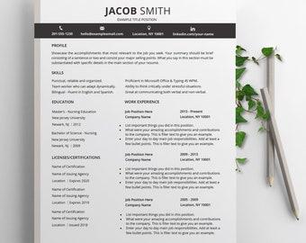 CV de sjabloon, CV, CV Design. Modern, professioneel & creatief. Sollicitatiebrief, 1-2 pagina cv sjabloon Instant Download voor Word.