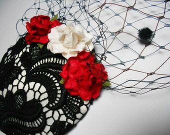 Black Ivory Vintage Lace Fascinator with Birdcage Veil and Flowers Bridal Boho Chic