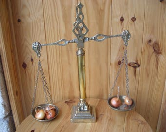 Vintage brass balance.  French 'Scales of Justice'. Decorative Scales.Kitchen Decor.