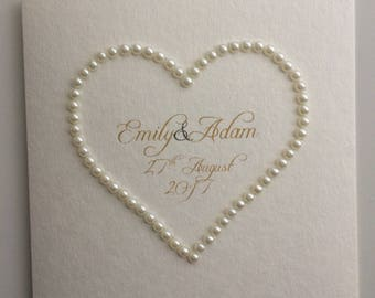 Wedding Congratulations Pearl Heart Personalised Card