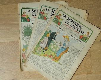 Antique French Girl magazine lot of 3 // 1936 // La Semaine de Suzette Magazine //  pattern