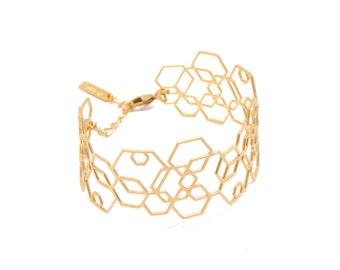 Gold Bangle, Geometric Bangle Bracelet, Rose Gold Bracelet, Gold Cuff Bracelet, Lace Bracelet, Bridal Bracelet, statement bracelet
