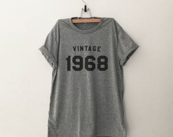 1968 shirt 50th birthday gift for women tshirts men gift for dad custom number birth year t shirts