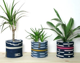 Baoule Cloth Planters / Ivory Coast Baole Textile Planter Unique Plant Pot Natural Dye Indigo Bright Colorful Traditional African Cloth Pink