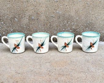 Vintage Set of 4 Pine Cone Mugs by Rocky Mountain Pottery