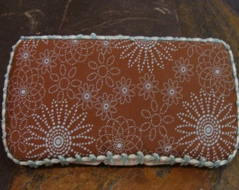 Brown and Turquoise Baby Wipes Case