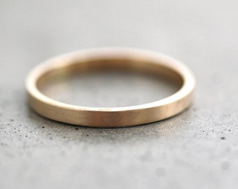 Gold Wedding Band Stackable Ring, 2mm Flat Slim Recycled 14k Yellow Gold Ring Brushed Gold Wedding Ring or Stacking Ring
